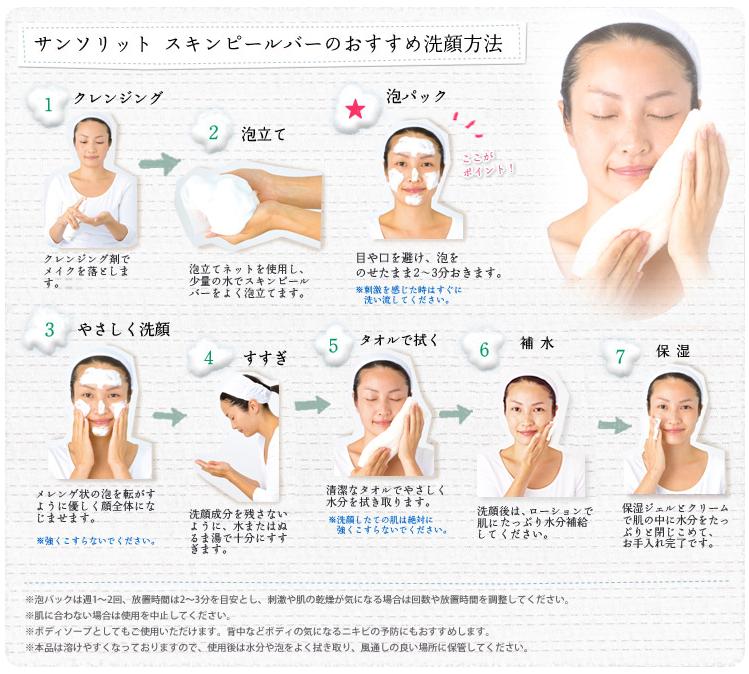 ピーリング石鹸をつかった洗顔方法